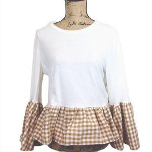 English Factory Gingham Bell Sleeve Top-N754